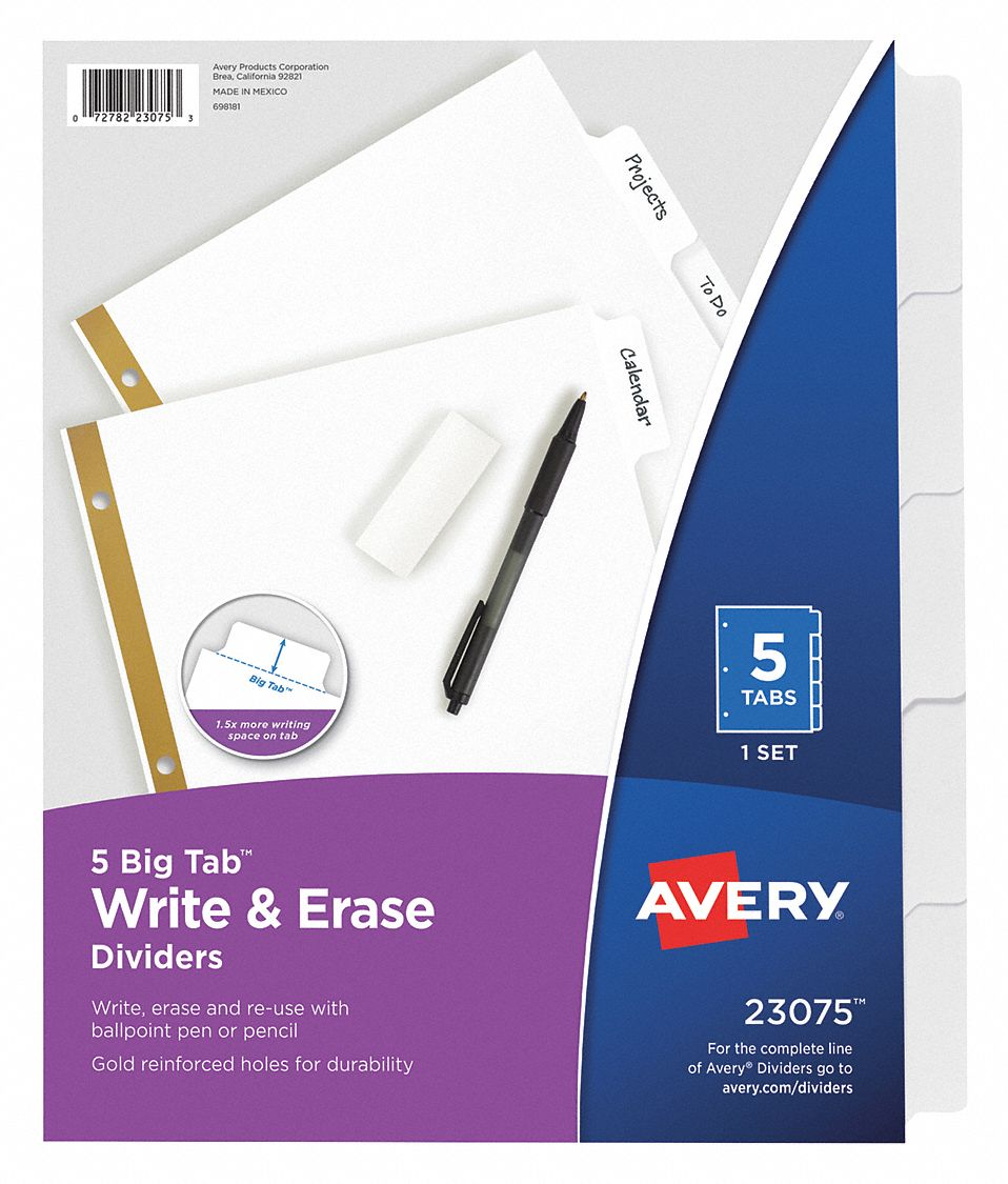 Binder Divider with 5 Write-On Tabs, White Blank, 8 1/2 in x 11 in