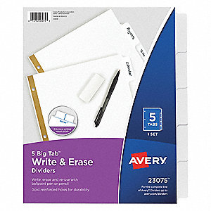 "Binder Divider with 5 Write-On Tabs, White Blank, 8-1/2"" x 11"""