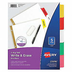 "Binder Divider with 5 Write-On Tabs, Multicolor Blank, 8-1/2"" x 11"""