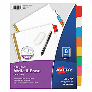 Index Divider,Write-On,8 Tabs,Multicolor