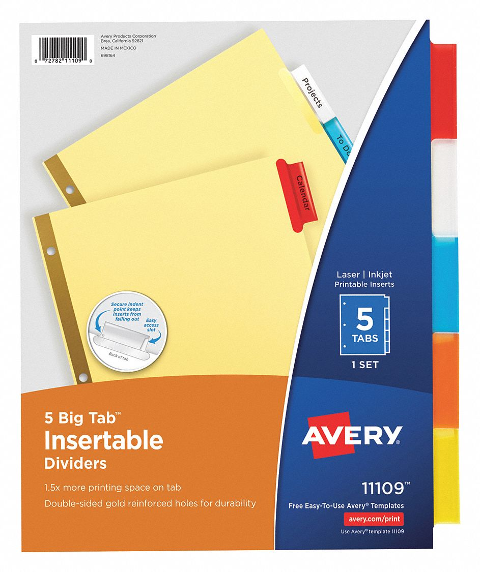 Binder Divider with 5 Insertable Labels, Multicolor Blank, 8 1/2 in x 11 in