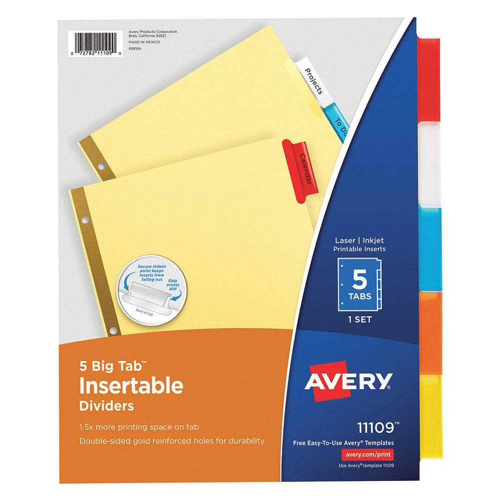 avery binder divider with 5 insertable labels transparent