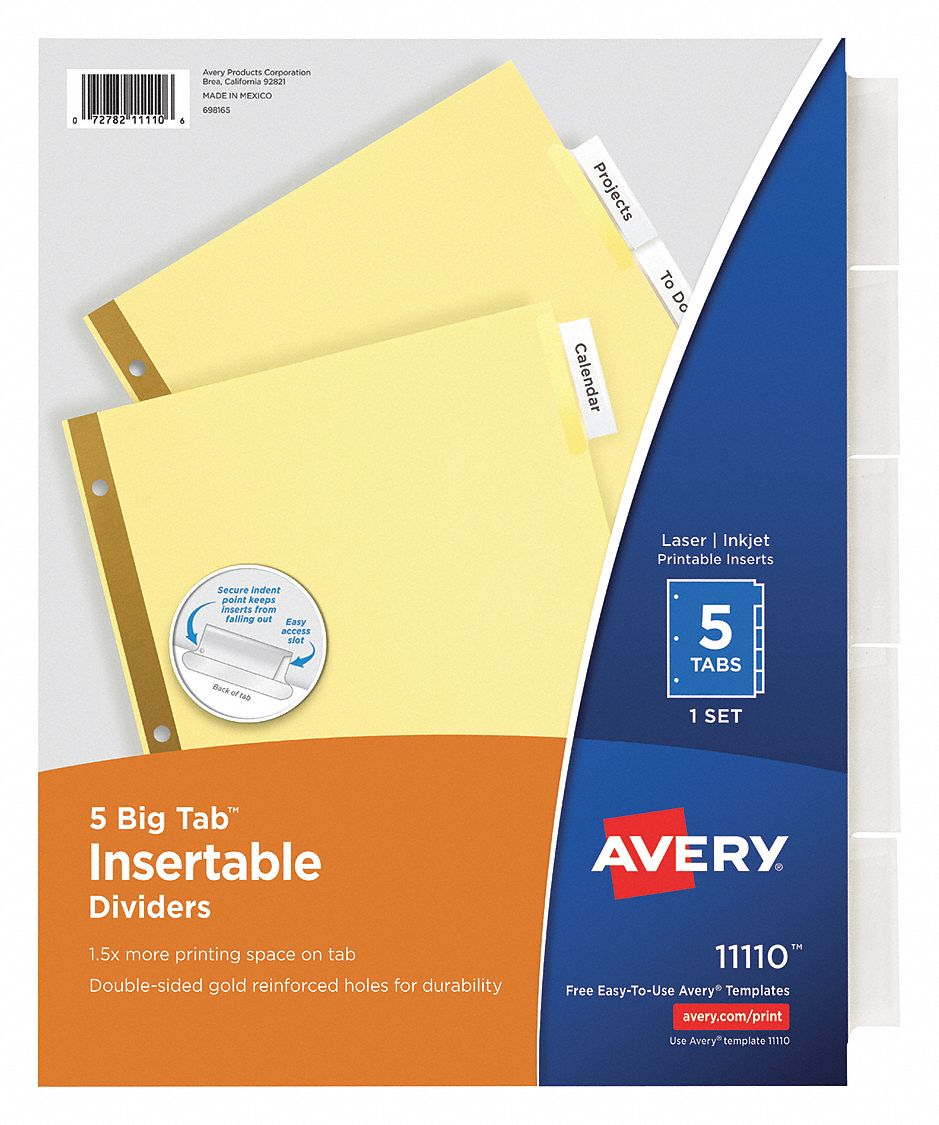 Binder Divider with 5 Insertable Labels, Clear Blank, 8 1/2 in x 11 in