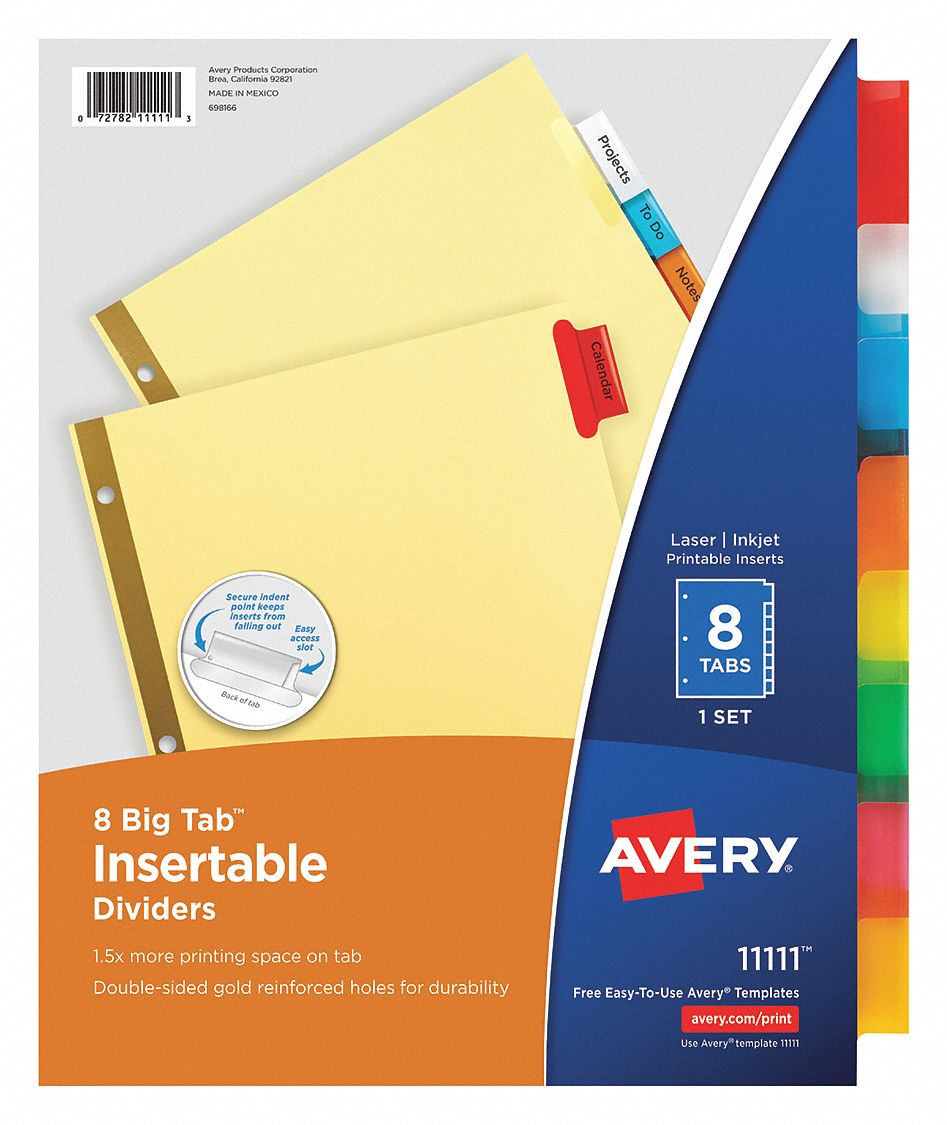 Binder Divider with 8 Insertable Labels, Multicolor Blank, 8 1/2 in x 11 in