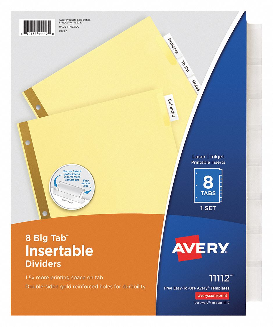 Binder Divider with 8 Insertable Labels, Clear Blank, 8 1/2 in x 11 in