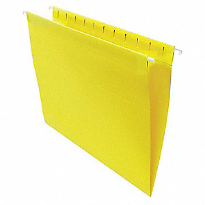 Hanging File Folders, Letter, Yellow, PK25
