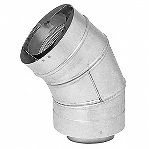 Stainless Steel/Aluminized Steel Vent Pipe Elbow, 45 Degree, For Use With: 6FZN0 to 6FZN3