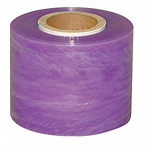 "Stretch Wrap, Hand Dispensed, 1-Side Cling, Standard, 3"" x 600 ft., Gauge: 120, Purple"