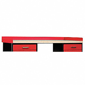 Side/Back Rail Kit, 72Wx24Dx4-1/2H, Red