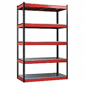 "48"" x 24"" x 78"" Boltless Shelving, Black Posts/Red Beams&#x3b; Number of Shelves: 5"