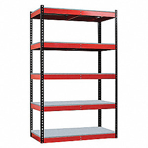 Boltless Shelving, Black Posts/Red Beams&#x3b; Number of Shelves: 5