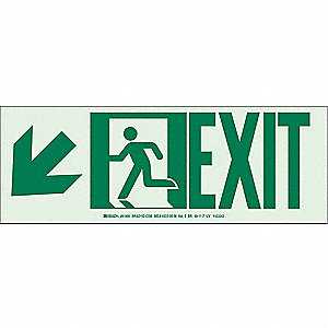 Exit Sign,5x14In,GRN/WHT,Exit,SURF,PK10