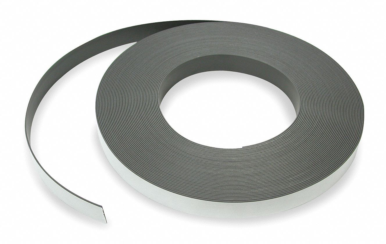Magnetic Strip,  Indoor Adhesive,  12 lb Max. Pull,  10 ft Length,  1 in Width