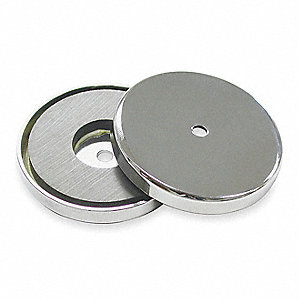 "Encased Round Base Magnet, 65 lb. Max. Pull, 0.375"" Thickness"