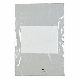 "Open Poly Bag, 2 mil, Clear Low Density Polyethylene (LDPE), Width 12"", Length 18"", 1000 PK"