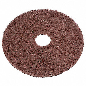 "15"" Recycled Plastic Polyester Fiber Round Stripping Pad, 350 rpm, Brown, 5 PK"