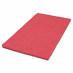 "12"" Recycled Plastic Polyester Fiber Rectangular Recycled Buffing Pad, 800 rpm, Red, 5 PK"