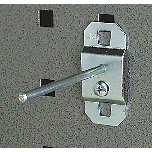Steel Single Rod Pegboard Hook, Screw In Mounting Type, Silver, Finish: Bright Zinc