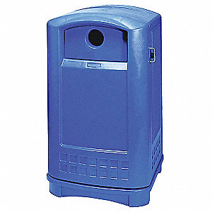 50 gal. Blue Stationary Recycling Container, Dome Top