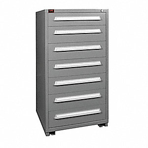 "Stationary Full Height Modular Drawer Cabinet, 7 Drawers, 30""W x 28-1/4""D x 59-1/4""H Dove Gray"