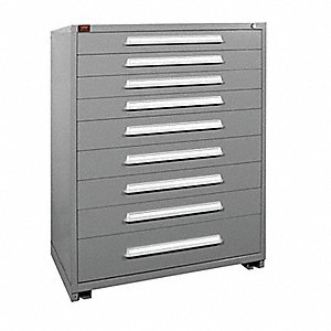 "Stationary Full Height Modular Drawer Cabinet, 9 Drawers, 44-1/2""W x 28-1/4""D x 59-1/4""H Dove Gray"