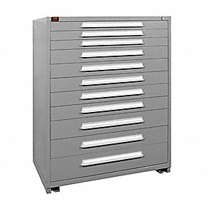 "Stationary Full Height Modular Drawer Cabinet, 11 Drawers, 44-1/2""W x 28-1/4""D x 59-1/4""H Dove Gray"