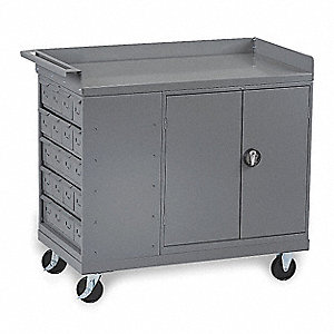 "48"" x 25"" x 43"" Gray Mobile Workbench Cabinet, 1000 lb. Load Capacity"