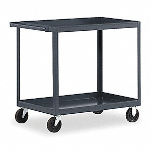 "36""L x 24""W x 36""H Gray Steel Welded Utility Cart, 1000 lb. Load Capacity, Number of Shelves: 2"
