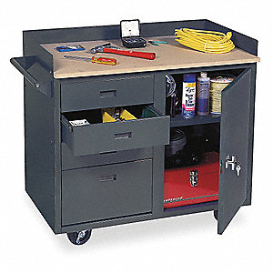"24"" x 42"" x 37"" Gray Mobile Service Bench, 800 lb. Load Capacity"
