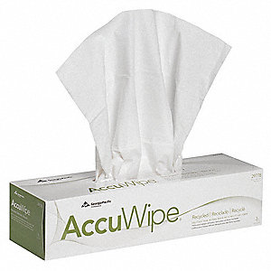 "AccuWipe® Recycled Fiber Cleanroom Wipes, 70 Ct. 16-1/2"" x 15"" Sheets, White"
