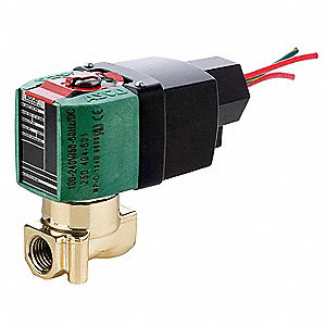 "100 to 240VAC/DC Brass Solenoid Valve, Normally Closed, 1/4"" Pipe Size"