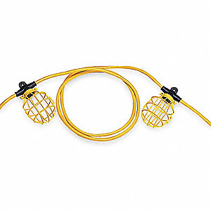 150W Incandescent Temporary String Light, Yellow/Black, 120VAC