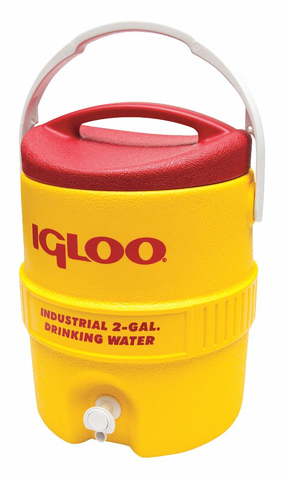 Plastic,  2.0 gal,  Beverage Dispenser,  Up to 1 day Ice Retention,  Yellow