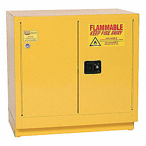 "35"" x 22"" x 35"" Galvanized Steel Flammable Liquid Safety Cabinet with Manual Doors, Yellow"