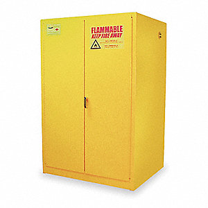 "43"" x 34"" x 65"" Galvanized Steel Flammable Liquid Safety Cabinet with Self-Closing Doors, Yellow"
