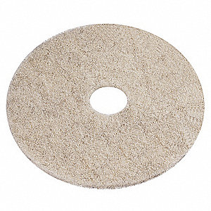 "24"" Recycled Plastic Polyester Fiber Round Burnishing Pad, 3000 rpm, Beige Blend, 5 PK"