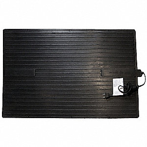 "20-1/2"" x 13-3/4"" x 1/4"" Non-Oscillating Electric Heated Rubber Mat, Black"