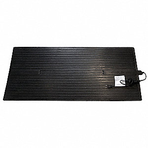 "36"" x 16"" x 1/4"" Non-Oscillating Electric Heated Rubber Mat, Black"