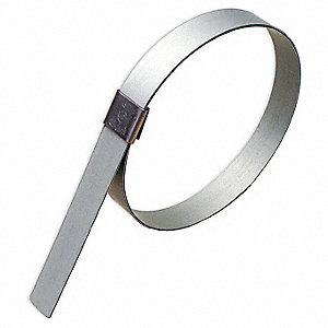 Galvanized Carbon Steel Hose Clamp, PK of 10