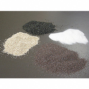 Blast Media, Aluminum Oxide Media Type, 60 Grit, 150 to 297 Nominal Dia. Micron Range