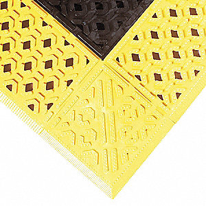 "Drainage Mat, Black with Yellow Border, 3 ft. x 2 ft. 6"", PVC, 1 EA"