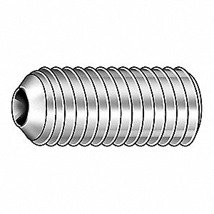 "3/16"" 18-8 Stainless Steel Socket Set Screw with Plain Finish&#x3b; PK60000"
