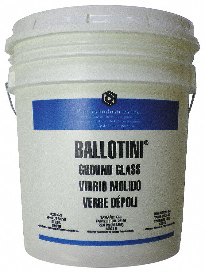 Ground Glass Blast Media, 425 to 710 Nominal Dia. Micron Range, 53 lb Pail