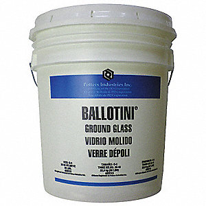 Ground Glass Blast Media, 425 to 710 Nominal Dia. Micron Range, 53 lb. Pail