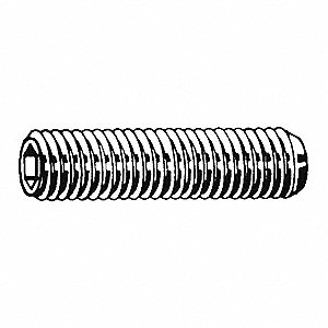 "3/8"" 18-8 Stainless Steel Socket Set Screw with Plain Finish; PK100"