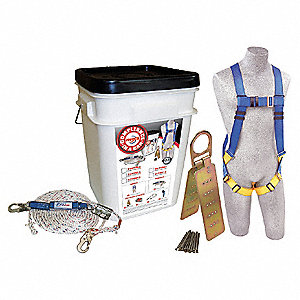 Blue/Yellow, Universal Size Roofers Harness Kit, 310 lb. Weight Capacity, Pass-Thru Leg Strap Buckle
