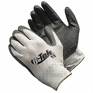13 Gauge Coated Gloves, Gray/White