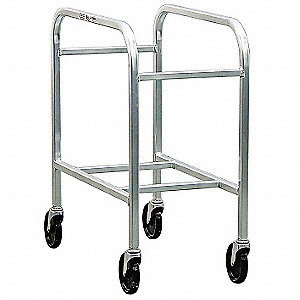 "28-1/4"" x 15-3/4"" x 33"" Aluminum Container Dolly with 700 lb. Load Capacity, Silver"