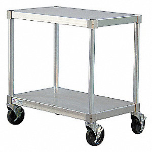 "Fixed Height Work Table, Aluminum, 18"" Depth, 36"" Height, 36"" Width,400 lb. Load Capacity"