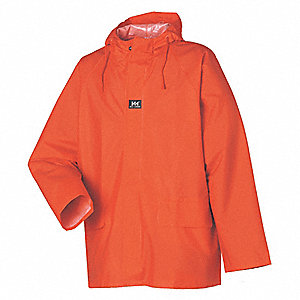 "Men's Orange PVC Rain Jacket with Hood, Size XL, Fits Chest Size 48"" to 50"""